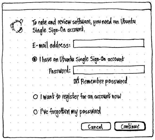 Boceto registro cuenta para valoraciones en Ubuntu Software Center