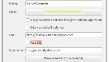 Entering info to Yahoo! calendar in Evolution