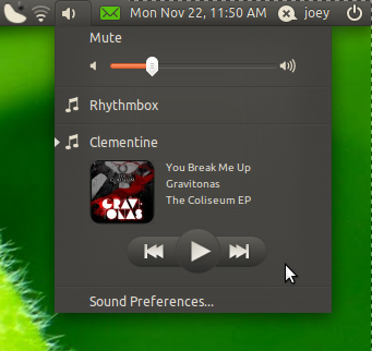 Clementine now uses the Ubuntu sound menu