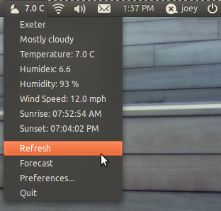 Indicator Weather for Ubuntu