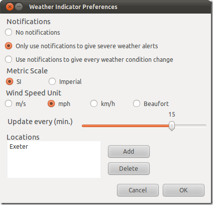 Weather Indicator Preferences