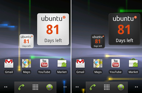 Ubuntu countdown widget til Android