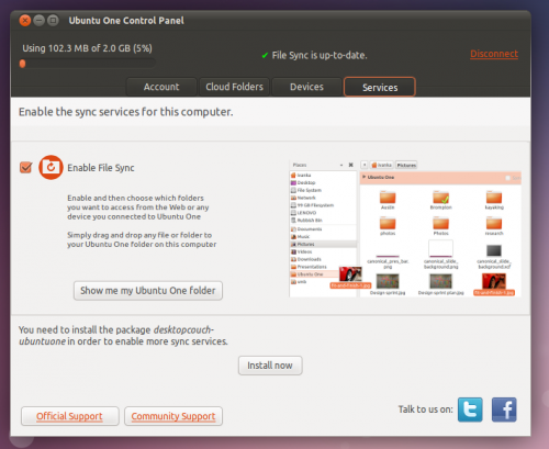 The Ubuntu One Control Panel could be an example of Ubuntu HIG