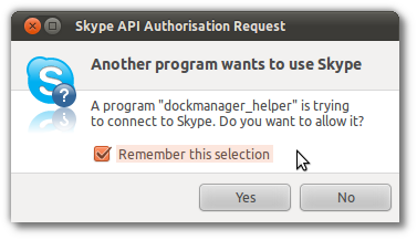Skype API Authorisation Request