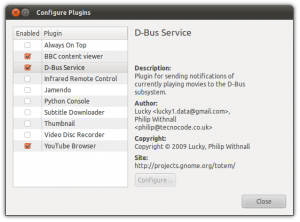 Configure totem Plugins: enable dbus