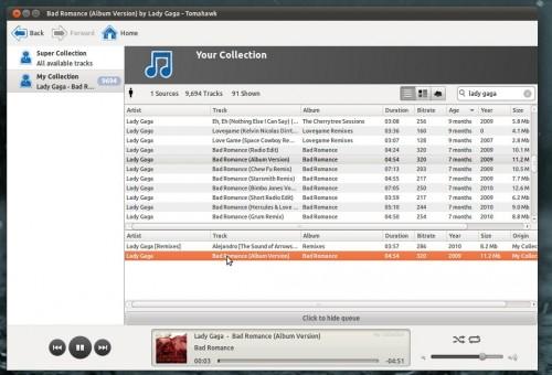 Tomahawk media player running in Ubuntu 11.04