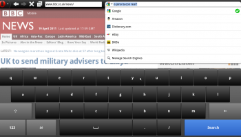 Opera Mobile in Ubuntu: Searching with virtual keyboard