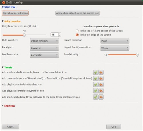 Confity running in Ubuntu 11.04