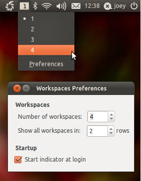 Indicator workspaces in Ubuntu 11.04