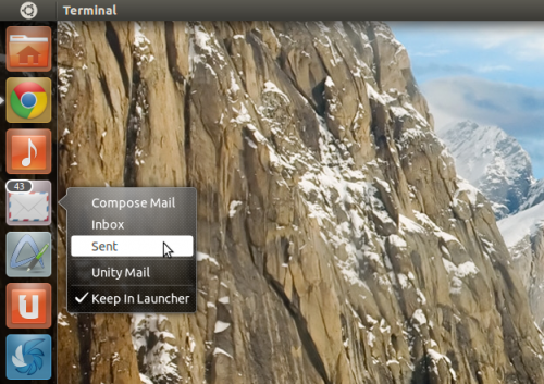 UnityMail in Ubuntu 11.04 showing the quicklist and number of unread mails