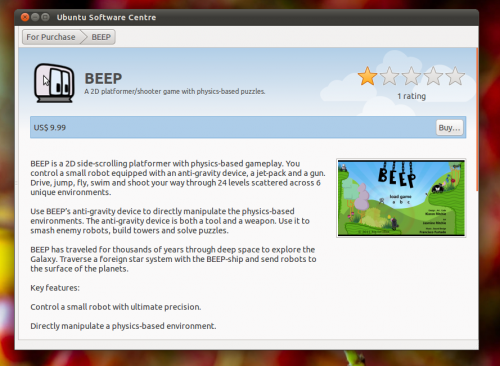 Beep in the Ubuntu Software Centre