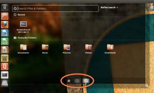 Switching Lenses in the Dash in Ubuntu 11.10