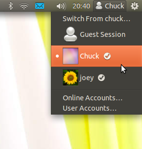 Ubuntu 11.10 user menu adds avatars