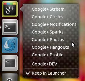 Google+ Unity quicklist