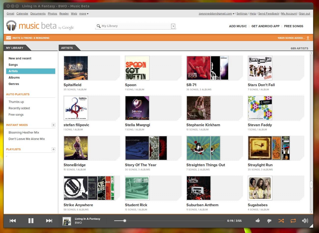 Google Music Pantalla