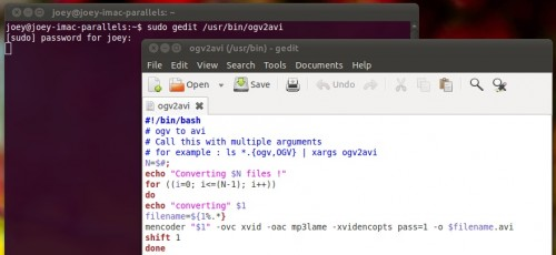 Ogv to avi using mencoder in Ubuntu