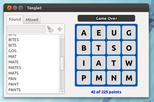 Tanglet word game in Ubuntu