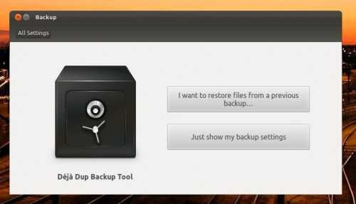 backup tool in Ubuntu 11.10