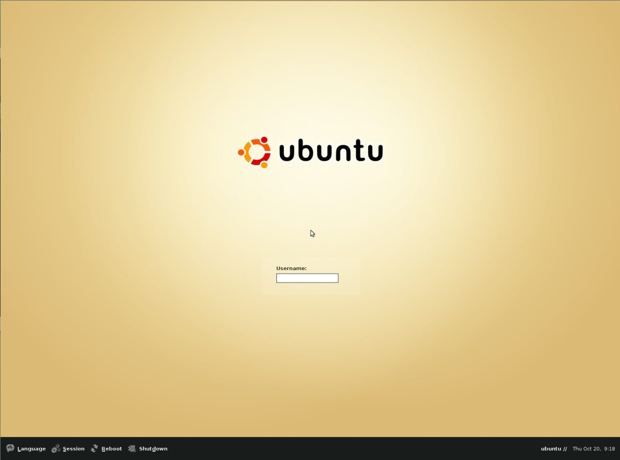 Ubuntu old GDM2 login screen