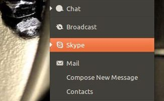 Skype in the Ubuntu messaging Menu