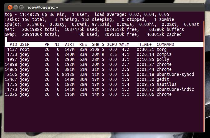 top command in an Ubuntu terminal