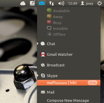 Skype in messaging Menu