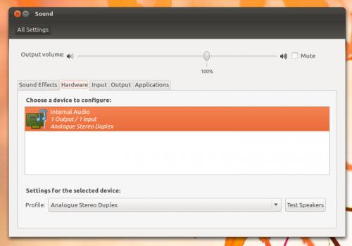 Ubuntu sound Settings in 11.10