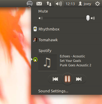 spotify sound menu