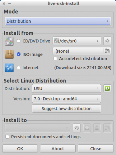 liveusb install app in action