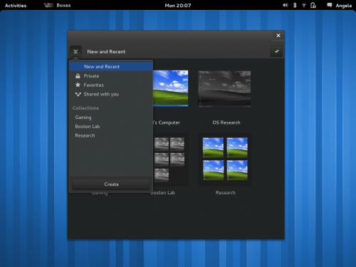 GNOME 3.4 Boxes App