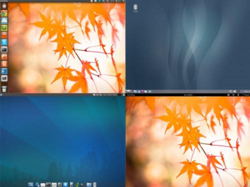 Four different desktop environments