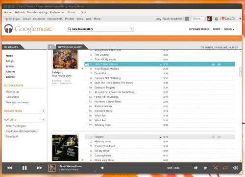 google music frame in ubuntu