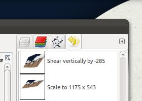 GIMP descriptive undo for transform tool