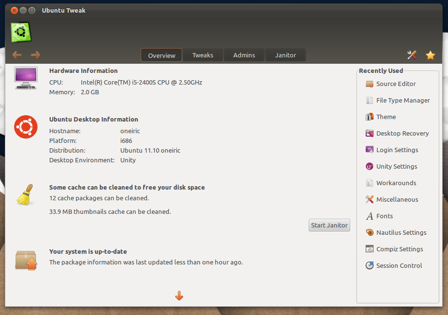 Ubuntu Tweak 0.6.0 in Ubuntu 11.10