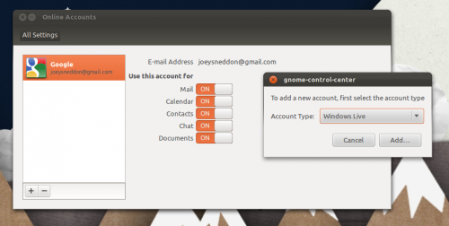 GNOME Online Accounts with MSN XMPP support in Ubuntu 11.10