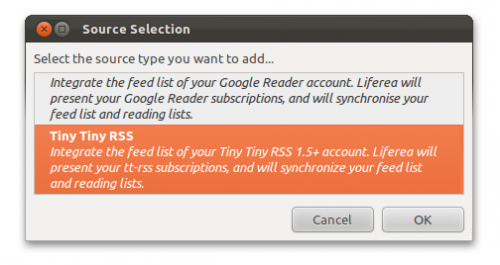 Tiny RSS support has been added to Liferea 1.8