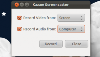 Kazam start screen