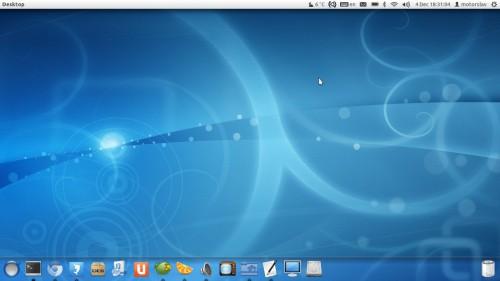 Unidade de desktop com lançador no fundo, novos ícones e mais