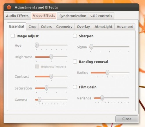 vlc effects dialog