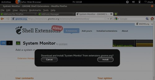 gnome shell extensions site