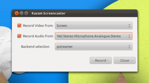 Kazam 0.13 with Gstreamer and Pulseaudio Support