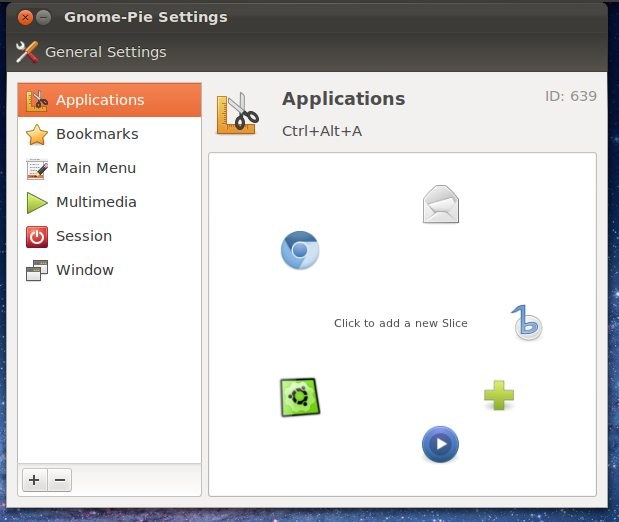 GNOME Pie's new configuration menu