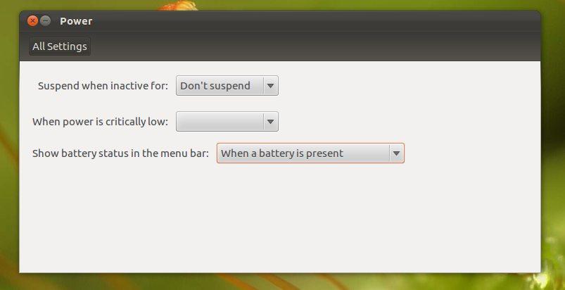 Configuración de bateria
