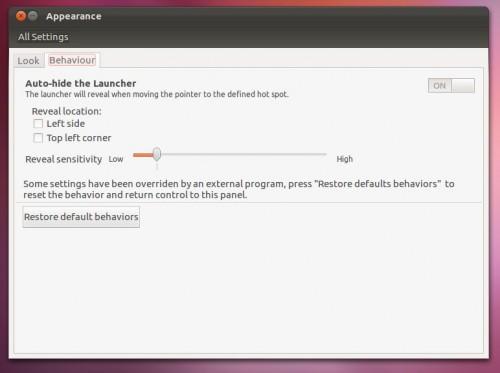 Appearance Settings in Ubuntu 12.04 Precise