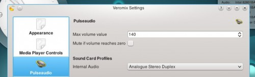 Veromix Plasmoid Settings