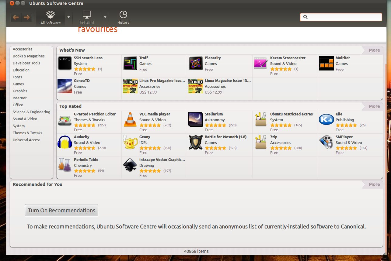 Ubuntu Software Centre App Recommendations