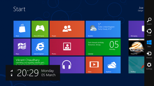 Windows 8 Share Bar