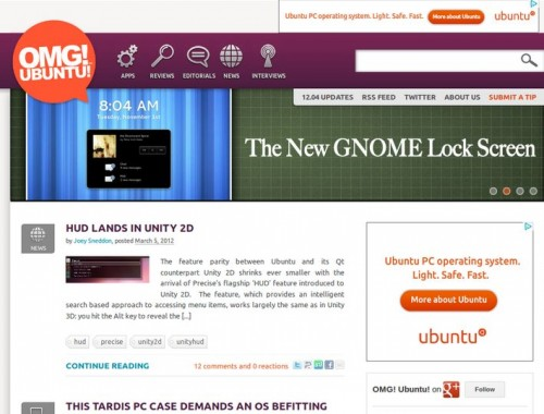 Ubuntu ads on OMG!