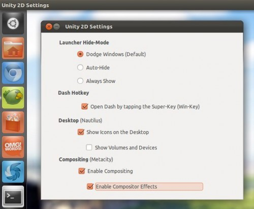 unity 2d settings in Ubuntu oneiric