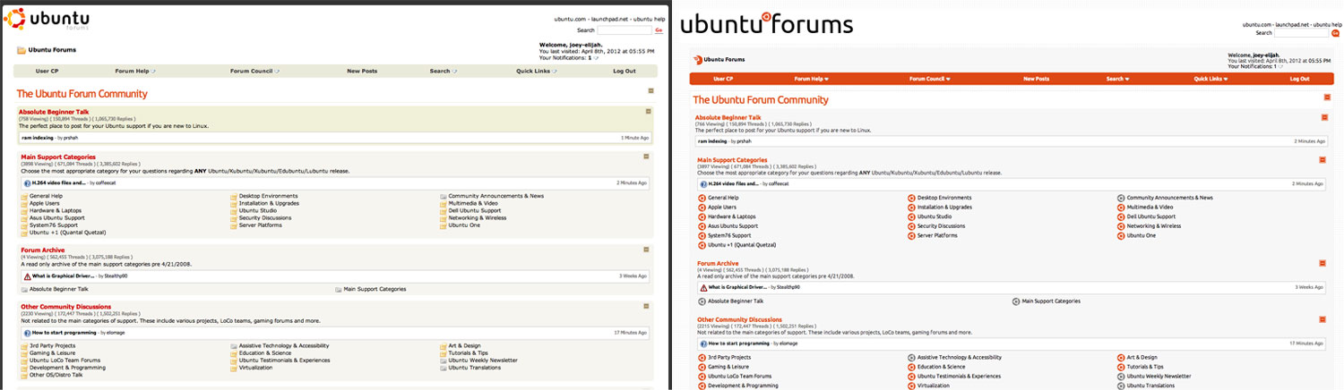 Ubuntu forums new look in action